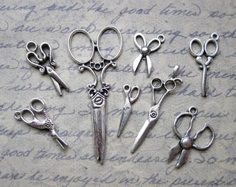 Scissors Collection of 8 Charms in Silver Tone - C2541