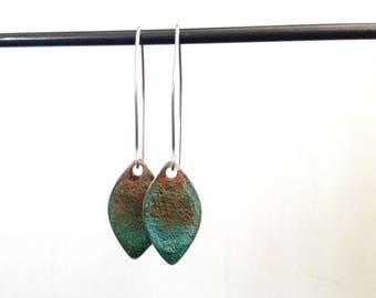 Brass Patina Drop Earrings