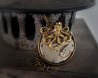 Steampunk Inspired  Pendant Vintage Watch Movement - The Octopus Invader
