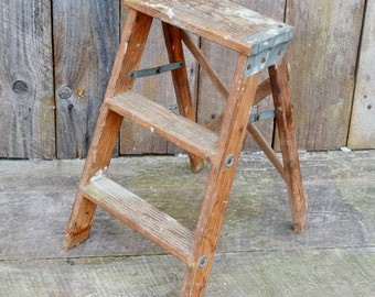 "Small Vintage Wooden Step Ladder 21"" Weathered Wood Paint Spatters Primitive Rustic Display Shelf Folding Stool"