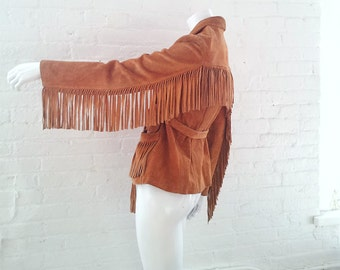 Suede Fringe Jacket 70s Vintage Boho Hippie Tan Suede Coat 1970s Med Women's Large Leather Western Cowboy Festival Jacket Neil Young Jacket