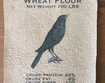 Black Crow Wheat Flour Muslin Panel Feed Sack