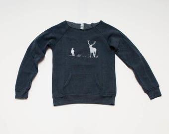 SALE Sweatshirt, Deer Shirt, Size S