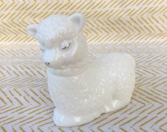 vintage milk glass sheep avon bottle