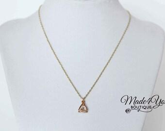 Rhinestone Drop Dainty Gold Necklace - Rhinestone Minimalist Necklace