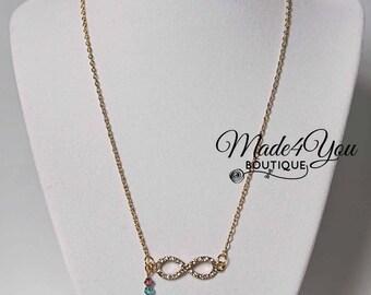 Infinity Birthstone Mom Necklace - Dainty Infinity Necklace - Gold Infinity Necklace