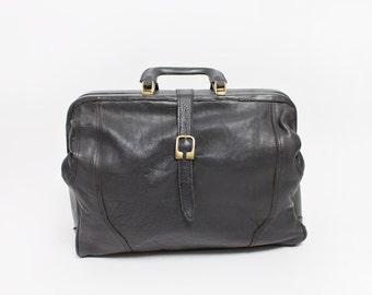 Vintage 80s OVERSIZED BAG - HIDESIGN Black Leather Overnighter Travel Bag 1980s