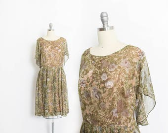 Vintage 1950s Dress - VOLUP Sheer Chiffon Floral Green Full Skirt Party Dress 50s XL Extra Large