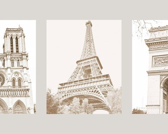 Paris' Most Famous, Trio of Vintage Style Sepia Prints, Notre Dame, Eiffel Tower & Arc d'Triomphe, 5x7 or 8x10s