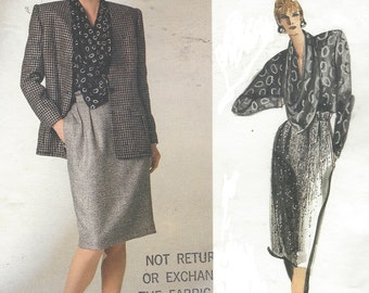 80s Anne Klein Womens Jacket, Skirt & Cowl Neckline Blouse Vogue Sewing Pattern 1755 Size 12 Bust 34 Vintage Vogue American Designer