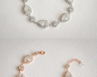 Bridal Bracelet, Crystal Wedding Bracelet, Wedding Jewelry, Crystal Halo Teardrop Wedding Bracelet, Vintage Style Crystal Bracelet, VENETIA