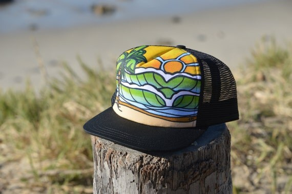 Surf Art Trucker Hat with Waves Palm Trees Hawaii Style Made in USA by Lauren Tannehill Art