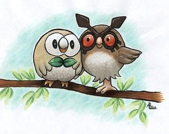 Pokemon Owls - Rowlet and Hoothoot - Fanart Marker Illustration by Amanda Lanford OOAK