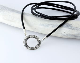 Sterling Silver Leather Eyeglass Loop Necklace, Silver Eyeglass Necklace, Leather Eyeglass Lanyard, Silver Glasses Holder, Sunglasses Chain