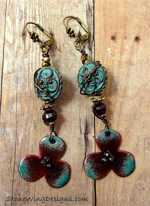 Artisan Enamel, Faceted Garnet and Green Patina Cast Bead Earrings