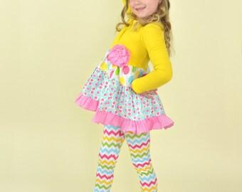 Lollipop Lane girls swing top and leggings clothing set