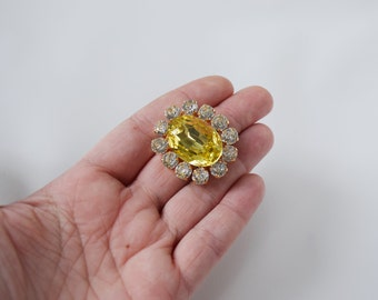 Citrine Yellow Brooch, Georgian Paste Brooch, 18th Century Pin, Regency 19th Century, Paste Glass, Reproduction Jewelry, Yellow Crystal Pin