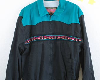90's Santa Fe Trail Jacket - blue with patterns , mens, large