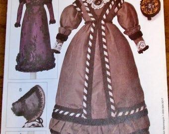 "Craft Sewing Pattern Vogue 7553 795 Linda Carr 1820-30 Historical Barbie Clothes 11.5"" Doll Bonnet Dress Gown Choker Bag Uncut Factory Folds"