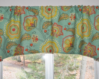 Kitchen Valance  Arched . Richloom Davinci Mallard . FULLY Lined .  Southwest Home Decor . Beautiful Handmade by SeamsOriginal