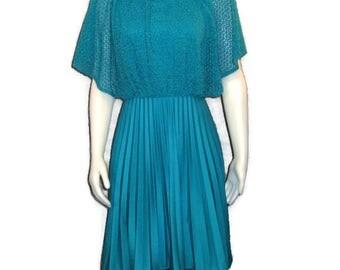 1970s Blue Dress Flutter Collar Dress Blue Pleated Skirt 1970s Party Dress Blue Knit Top Sleeveless Dress Short Blue Dress 70s Short Dress