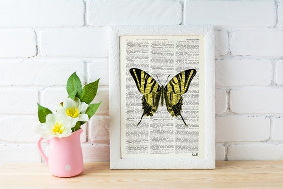 Spring Sale Butterfly Dictionary Book Print - Altered art on upcycled book pages BPBB034