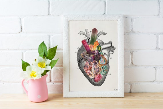 Spring Sale Love print , Minerals and stones Heart Print Chic love prints wall art, Stones and minerals, first aniversary gift WP217
