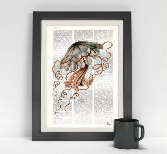 Jelly fish gray pink color,Vintage Dictionary Art Print on Book Page Jelly fish II Print on Dictionary, print,SEA055
