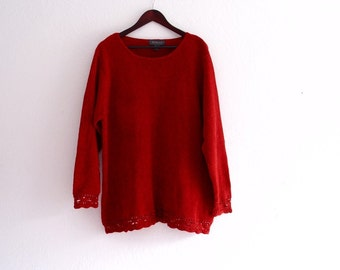 Red Knit Velour Tunic Sweater
