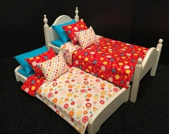 American Girl Doll:  Furniture, Bed with trundle, bedding