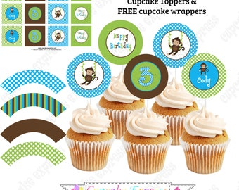 Monkey Cupcake Toppers  PRINTABLE Birthday party Decor Cupcake Toppers Favor tags blue green brown BOY DIY