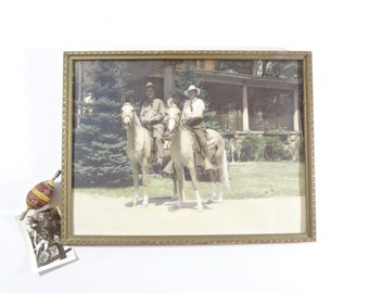 Vintage Equestrian Photo /  Framed Horse Riding Photograph / Rustic Wall Decor
