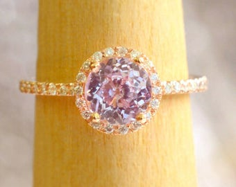 peach sapphire engagement ring, gift for her, anniversary gift - Joan 2263