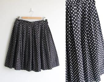 Pleated skirt / Black and white polka dot print skirt / size large