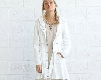 Embroidered winter coat ,white.