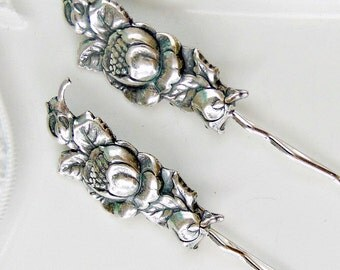 Victorian Hair Pins, Victorian Flower Hair pins, Sterling Silver, Floral Hair Pins, Silver Ox Brass, Silver Hair Clips, Silver Flower PEONY