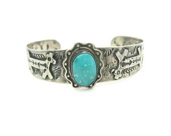 Fred Harvey Bracelet. Navajo Turquoise Cuff. Applied Horses, Hand Stamped Snakes, Arrows. Sterling Silver. Vintage Native American Jewelry