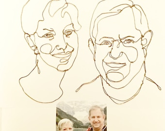 Wire Sculpture, He and She Portraits, Wall Art Personalized Portraits, Anniversary gift