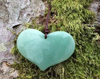 Aventurine Heart and Leather Necklace, Large Heart Stone Necklace