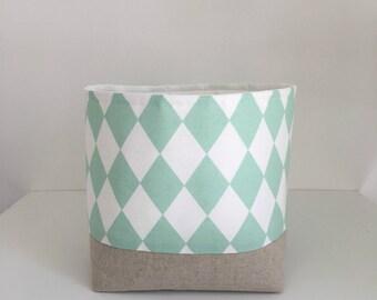 Fabric Storage Basket, Mint Diamonds, Nursery Storage, Small Toy Storage, Container