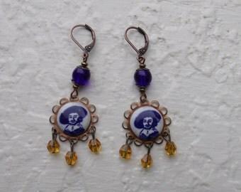 Rembrandt Earrings - Delft, art earrings, blue/white/topaz