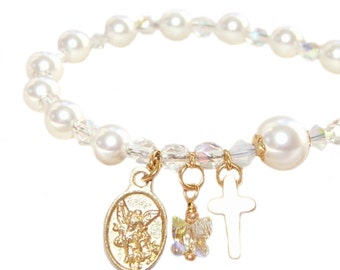 Rosary Bracelet for Girl, White Pearls & Crystals / Catholic First Communion, Confirmation Gift