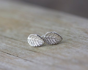 Tiny Leaf Stud Earrings, Sterling Silver Leaf Earrings, Post Earrings, Friend Gift, Wife Gift, Earrings Handmade by Burnish