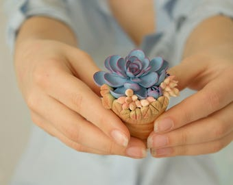Purple Blue Succulent Ring Box Bearer Case Wooden Round Decorated Engagement Ring Holder Proposal Ring Case Gift Home Decor Wedding
