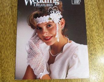Thread Crochet WEDDING TREASURES - Bride's Garter / Gloves / Basket / Bell / Ring Bearer Pillow + - Vintage Crochet Pattern by Annie's Attic