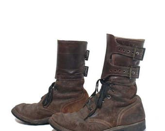 SALE 7.5  (Narrow) | Men's Vintage WW II Double Buckle Military Boots Distressed Roughout Suede Army Boot