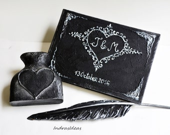 Personalized guest book, Black wedding guest book with silver heart, Black silver wedding guest book, Black feather pen and pen holder