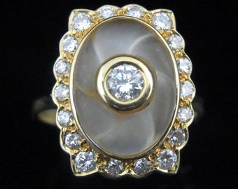 Estate Diamonds Carved Rock Crystal 18k Yellow Gold Cocktail Ring Vintage LAYAWAY Available