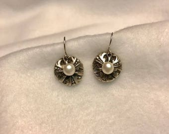 Handcrafted Fine Silver 999 Flower Earrings with Natural Fresh Water Pearls