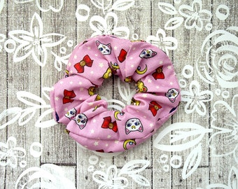 Sailor Moon Scrunchie - Pink Anime Scrunchy / Sailor Moon Fabric / Sailor Moon Hair Tie / Retro Large Cotton Srunchie / Geek Girl Gift